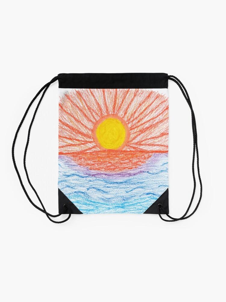 Alternate view of Merch #28 -- Sea Sunset Drawstring Bag