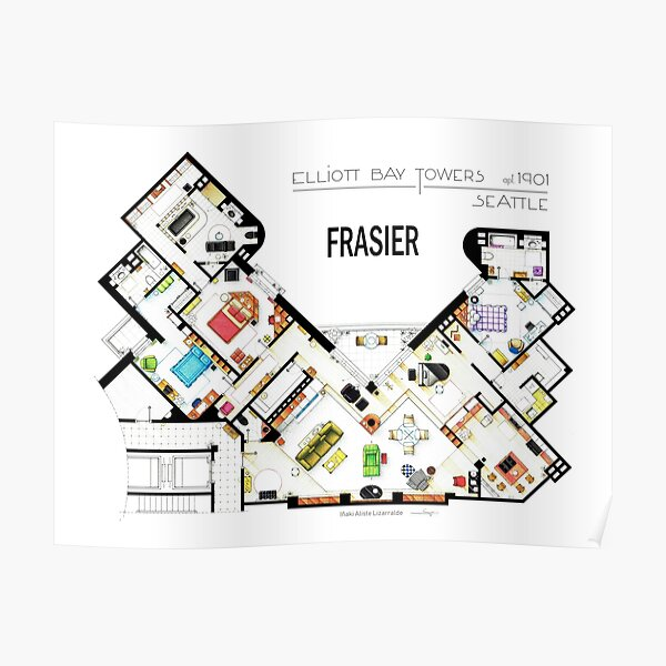 Frasier Apartment Floorplan Poster