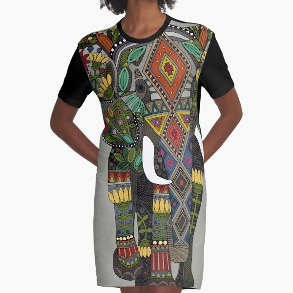 floral elephant stone Graphic T-Shirt Dress