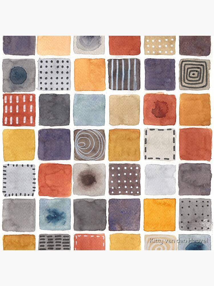 Neutrals squares watercolor painting by kittyvdheuvel
