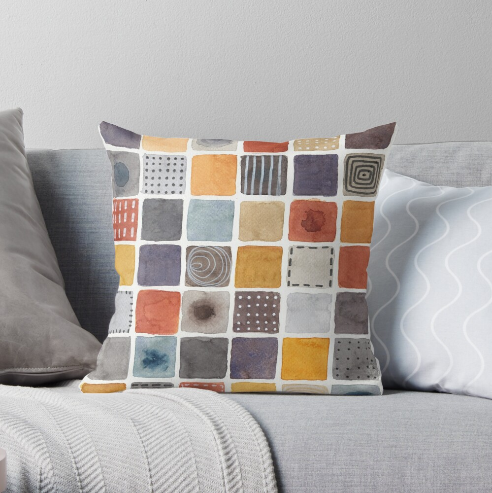 Neutrals squares watercolor painting Throw Pillow
