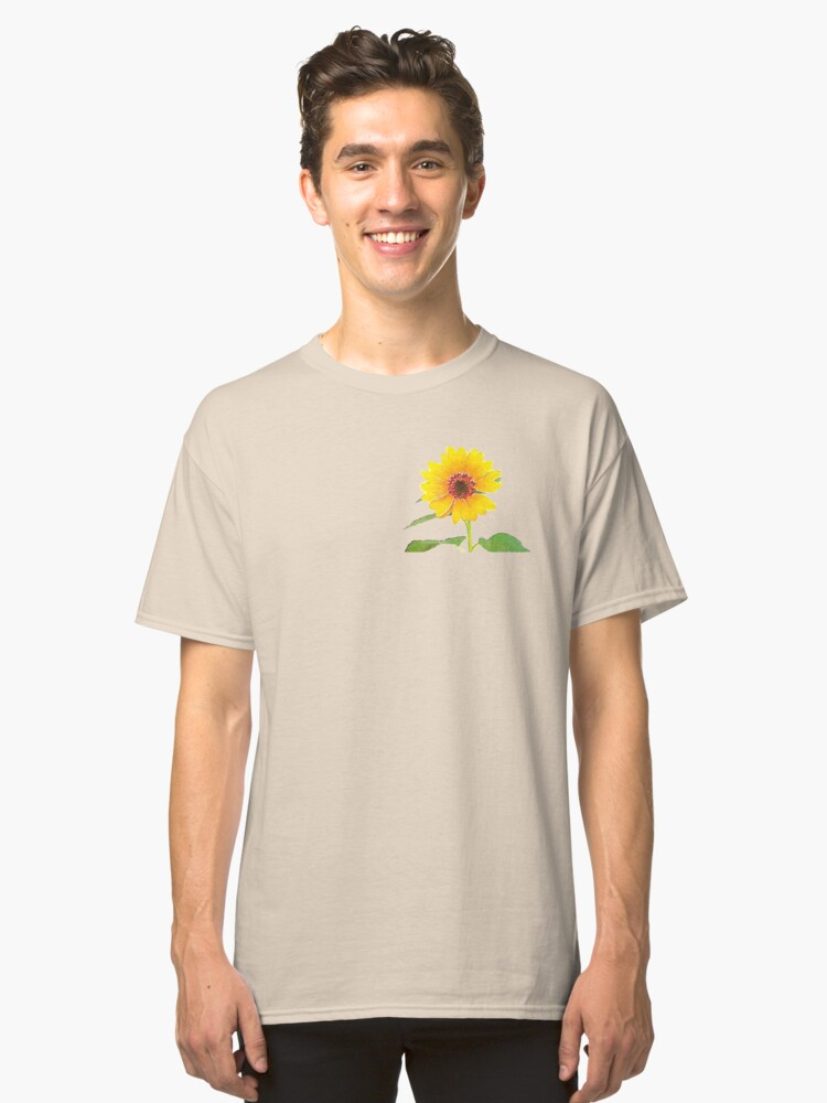 Alternate view of Sunflower in Watercolor Classic T-Shirt
