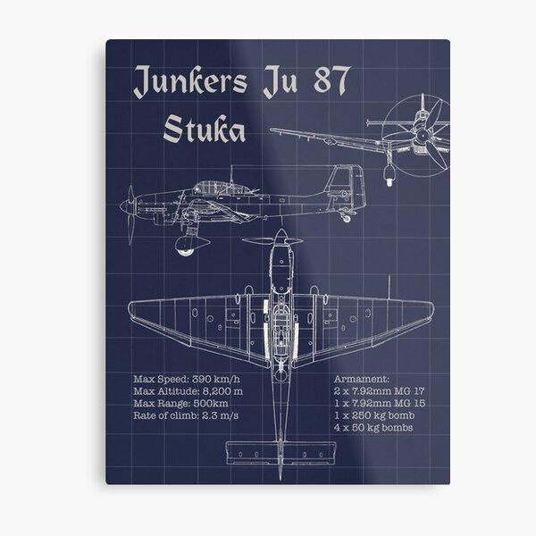 Junkers JU 88 Blueprint WW2 German Bomber WWII Aircraft Wood Framed Unframed art