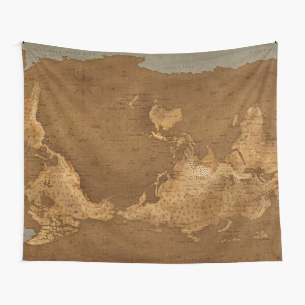 World Map - Upside Down Tapestry