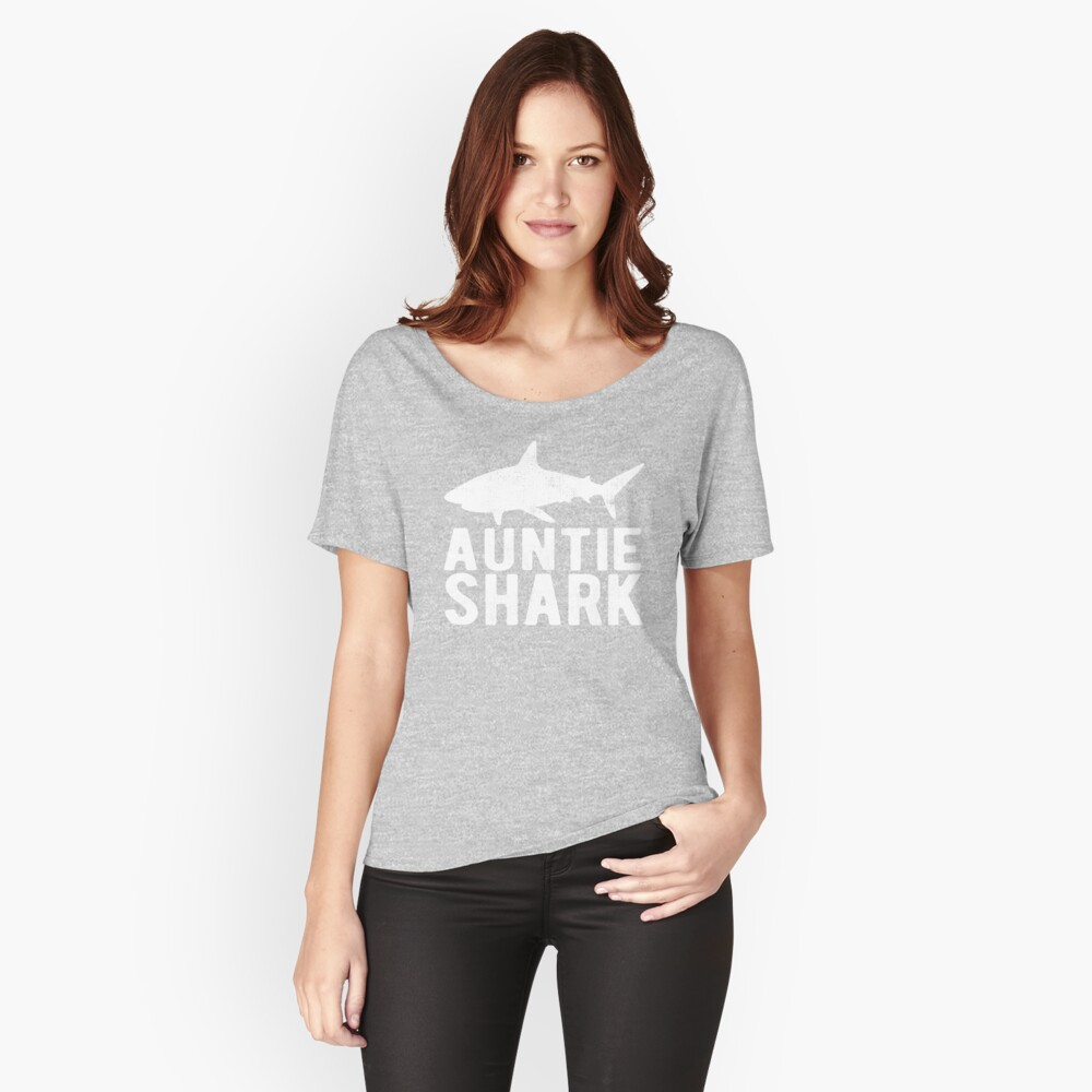 Auntie Shark Family Shark Matching Gift Women's Relaxed Fit T-Shirt Front