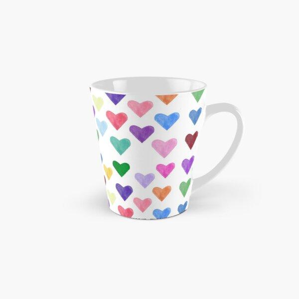 Watercolor Hearts Pattern Tall Mug