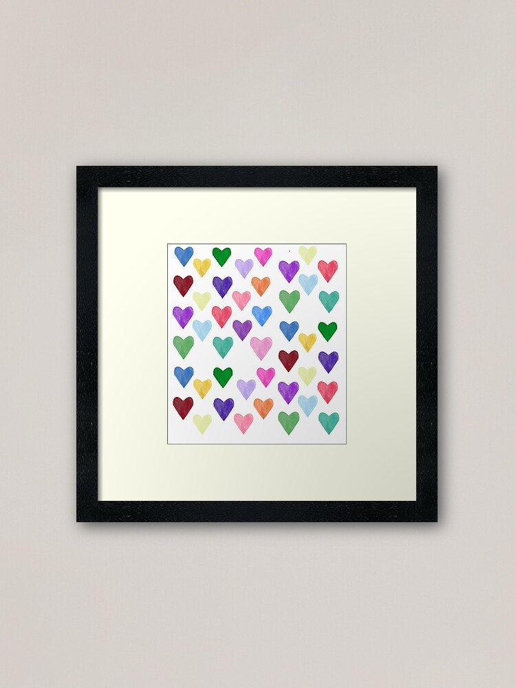 Alternate view of Watercolor Hearts Pattern Framed Art Print