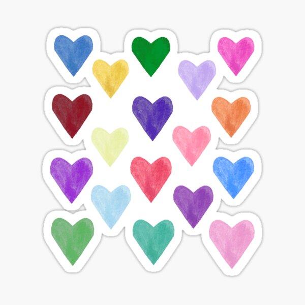 Watercolor Hearts Pattern Sticker