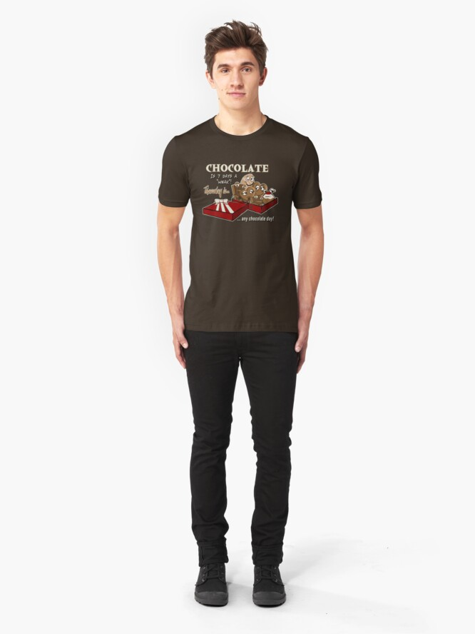 Alternate view of Chocolate - Thursday is any chocolate day Slim Fit T-Shirt