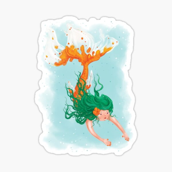 Orange Koi Mermaid Sticker