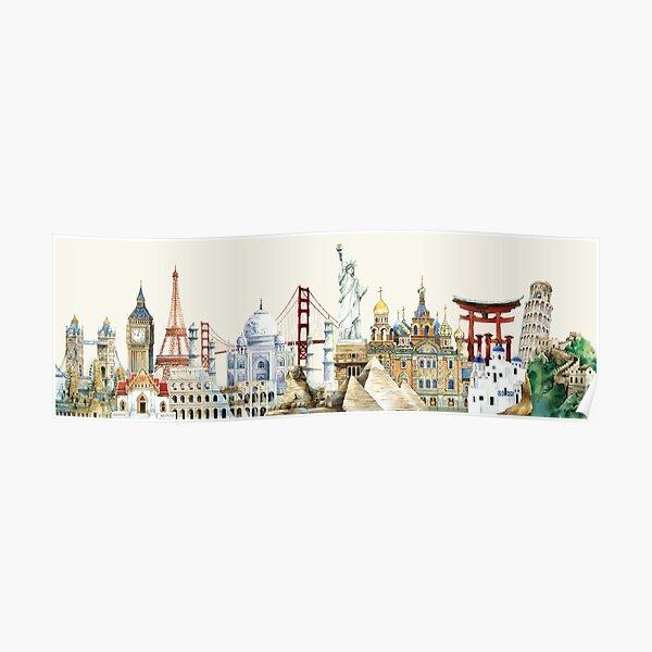 World Travel Famous Landmarks Poster
