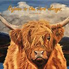 Highland Cow - With Philippians 4:4 Bible Verse by EuniceWilkie