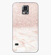 Rosa Roségold Marmor Ombre Glitter Hülle & Skin für Samsung Galaxy