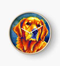 Colorful Golden Retriever Dog Portrait Clock