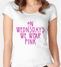 Funny On Wednesdays We Wear Pink Graphic T Shirt Women's Fitted Scoop T-Shirt