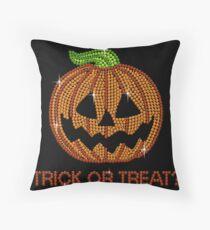Printed Sparkly Rhinestone Jackolantern Pumpkin Throw Pillow