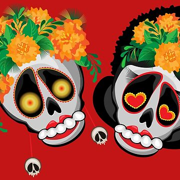 Fun Skulls in sombrero and with flowers in hair.  by IrinkaArt