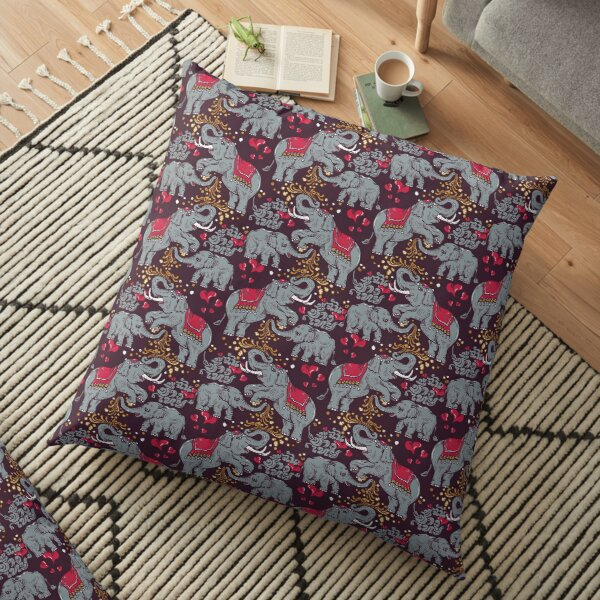Thai elephants family Floor Pillow