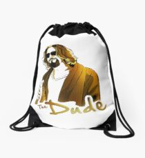 the dude, exclusive gold edition Drawstring Bag