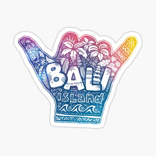 Bali island shaka - surfer hang loose symbol Sticker