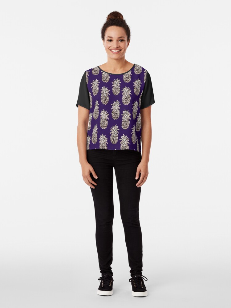 Alternate view of Rose Gold pineapples on purple Chiffon Top