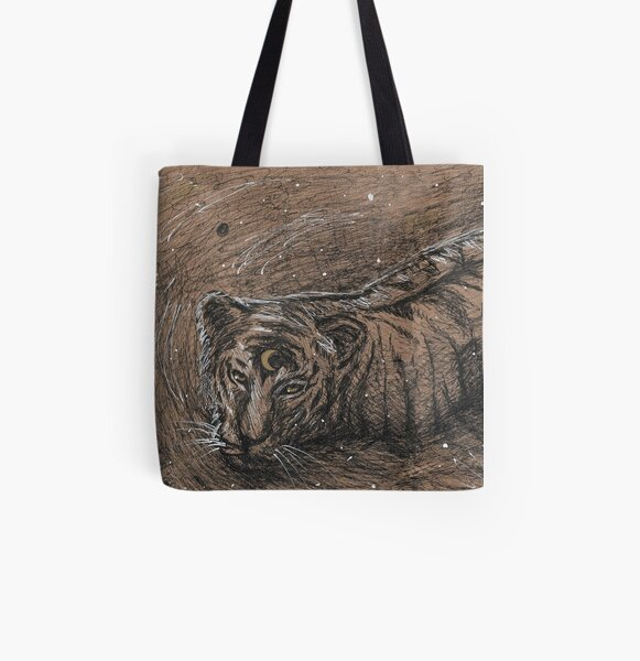 Moon Tiger All Over Print Tote Bag