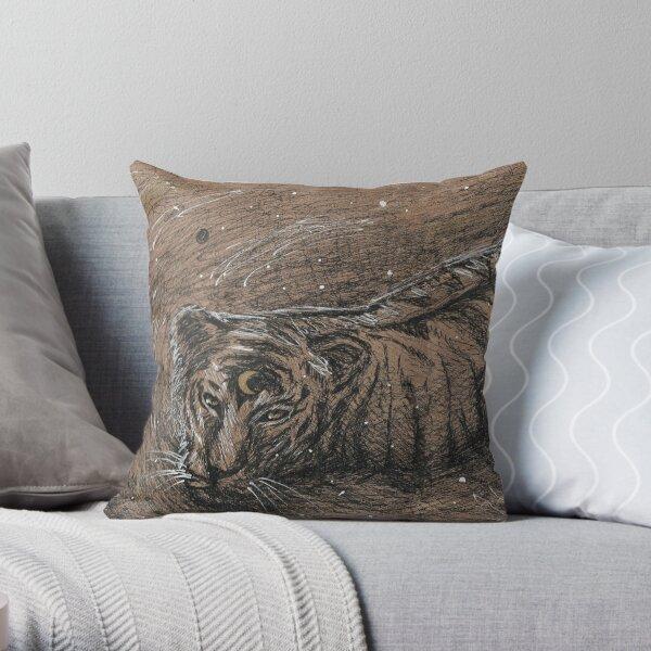 Moon Tiger Throw Pillow