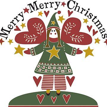 Folk Art Christmas Angel by JoniandCo