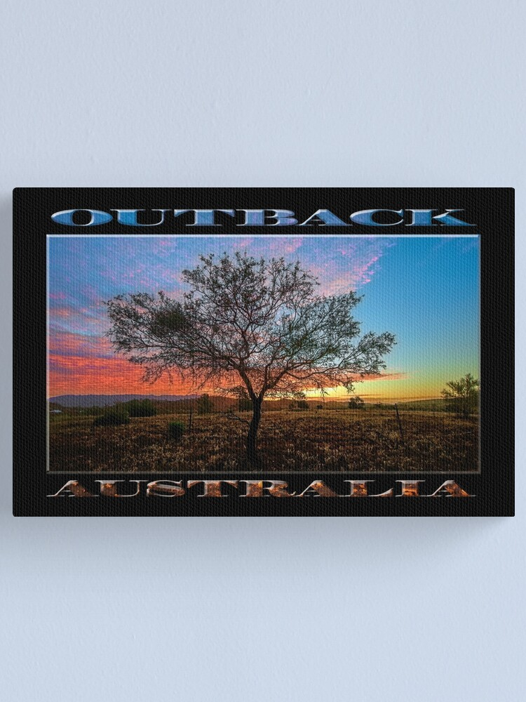 Alternate view of Outback Sunset (poster on black) Canvas Print