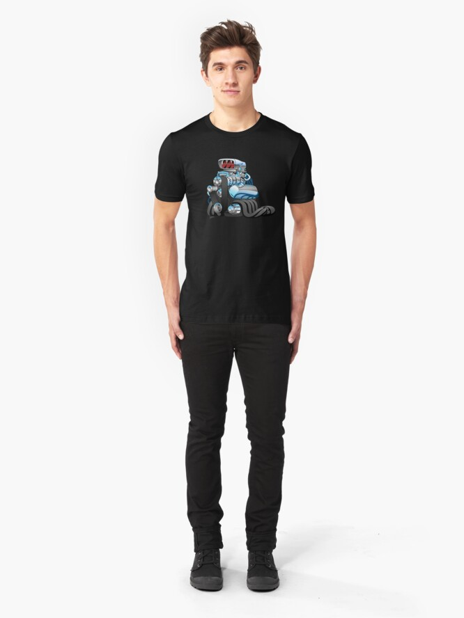 Alternate view of Hotrod Racing Car Engine Cartoon Illustration Slim Fit T-Shirt