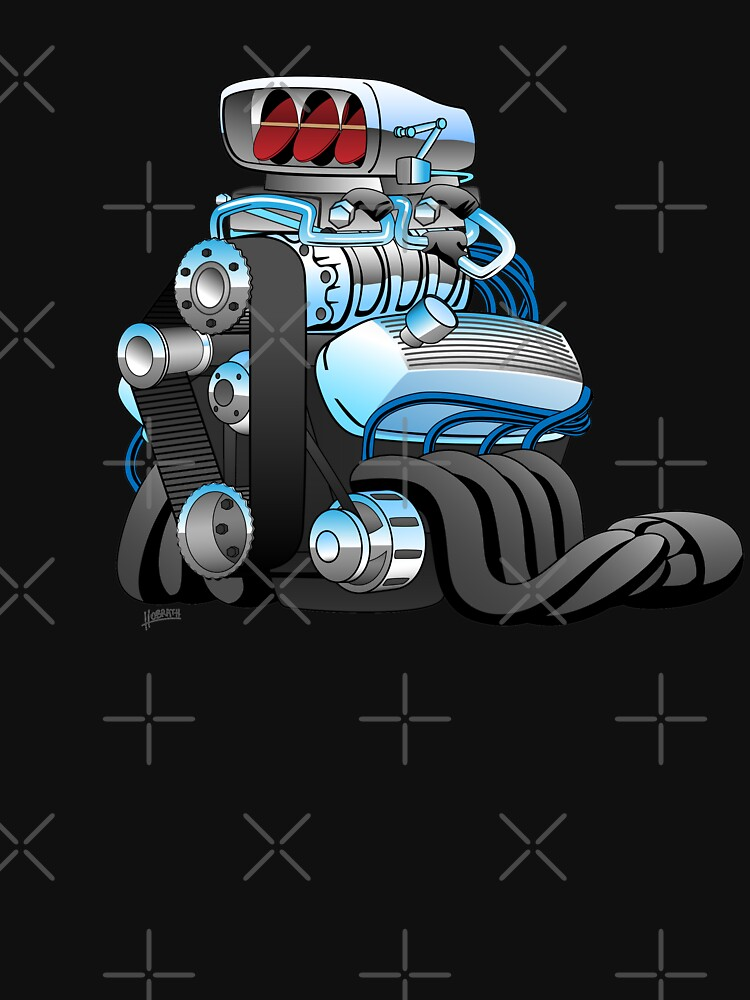 Hotrod Racing Car Engine Cartoon Illustration by hobrath