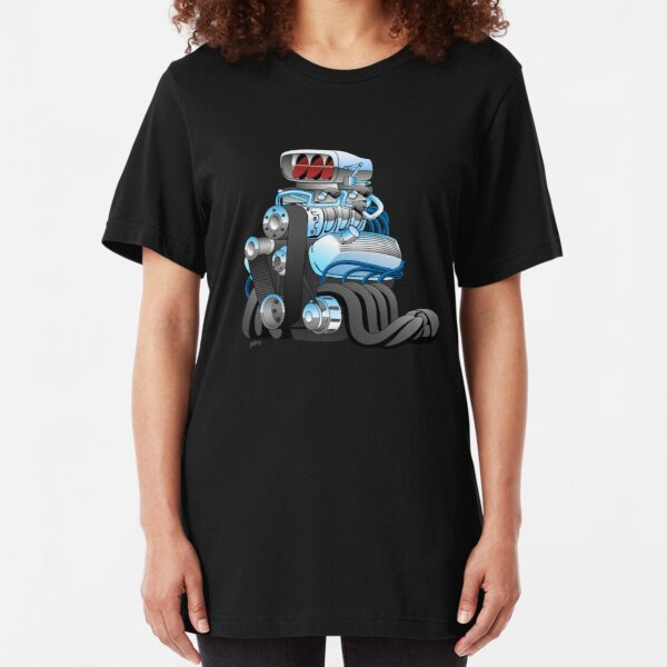 Hotrod Racing Car Engine Cartoon Illustration Slim Fit T-Shirt