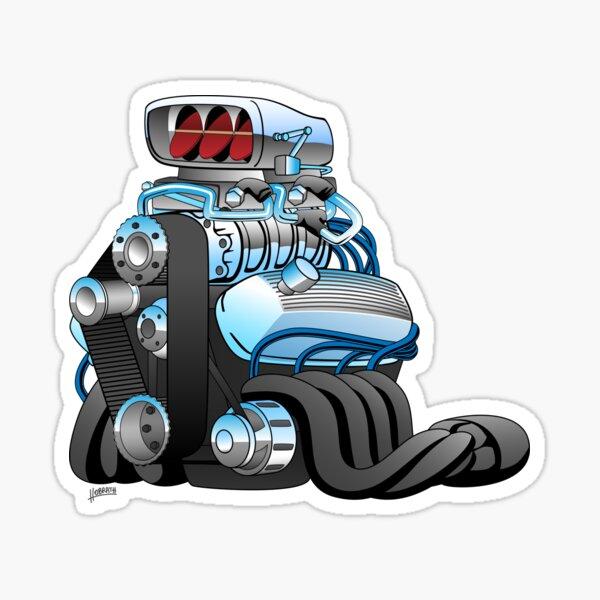 Hotrod Racing Car Engine Cartoon Illustration Sticker
