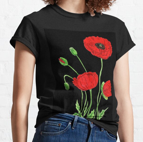 Red Poppy Flowers Watercolor Classic T-Shirt