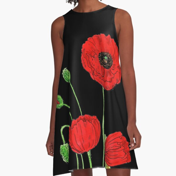 Red Poppy Flowers Watercolor A-Line Dress