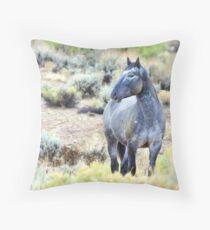 The Watchful Eye - Wild Blue Roan Stallion Throw Pillow