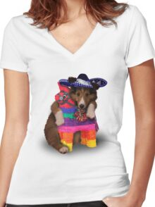 Mexican Dog Women's Fitted V-Neck T-Shirt