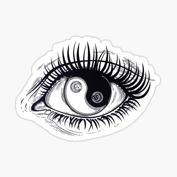 Eye of a human girl with pupil and iris as Yin and Yang boho symbol.  Sticker