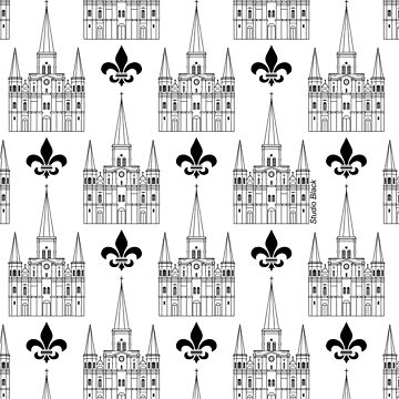 New Orleans St. Louis Cathedral Pattern Black by StudioBlack