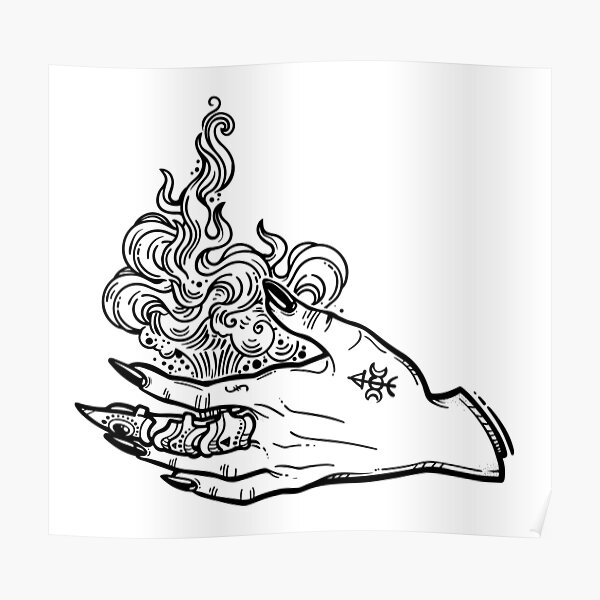 Witch Gothic hand with fire flames with black nails, claw ring and tattoo. Poster