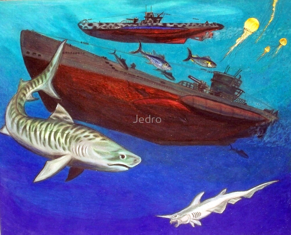 Under Water Wolves and Tiger by Jedro