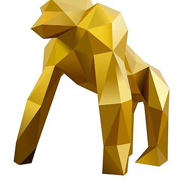 Gold Origami Gorilla by augenpulver