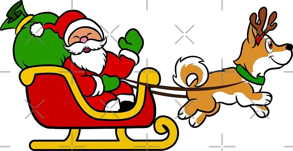 Lustiges Shiba Inu Santa Weihnachtsren-Pferdeschlitten-Weihnachten ...