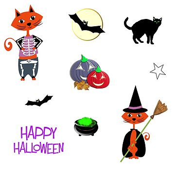 Fun Halloween Night Cats Cute Design by Artification