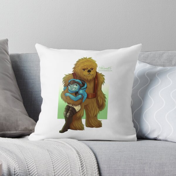 Twi-lek and Wookie Throw Pillow