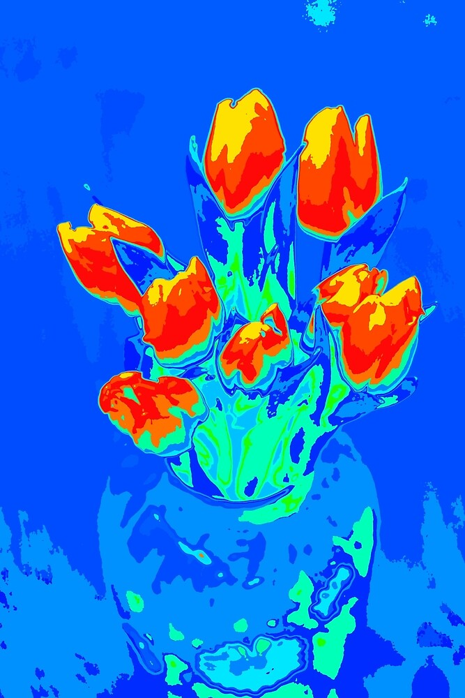 Red tulips on blue by MagsArt
