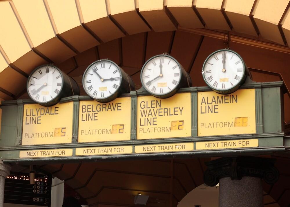 Flinders Street Station Clocks by MagsArt