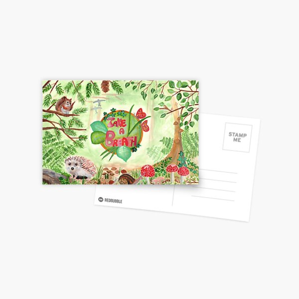 Medilludesign quote take a breath ecotherapy forest green nature Postcard