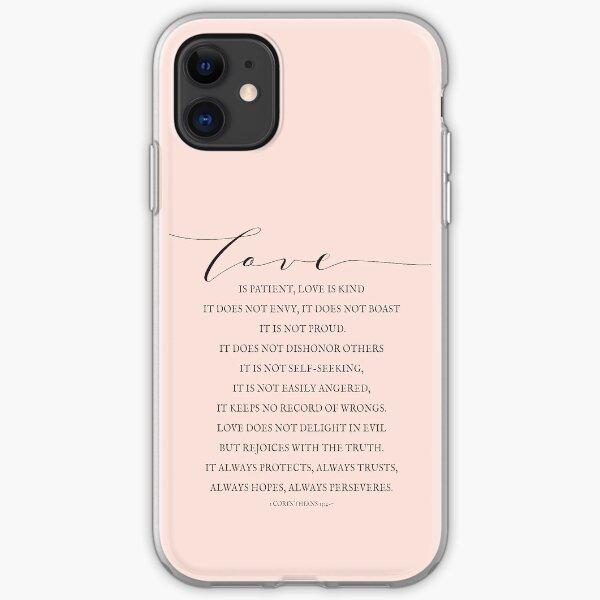 1 Corinthians 13:4-7, Love Verses, Bible Verse Lettering, Love is Patient, Farmhouse Decor iPhone Soft Case