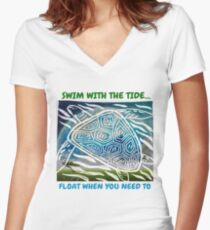 SEA TURTLE Inspirational quote Women's Fitted V-Neck T-Shirt
